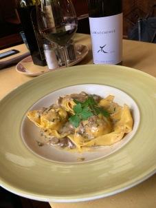 Tortellaci (big tortellini), stuffed with ricotta, with a mushroom truffle sauce